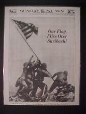 VINTAGE NEWSPAPER HEADLINE ~WORLD WAR U.S.A. FLAG SURIBACHI IWO JIMA JAPAN WWII~