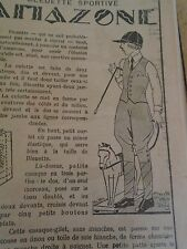 """PATRON ORIGINAL POUR LA POUPEE """" BLEUETTE COSTUME AMAZONE JUIN 1931"""