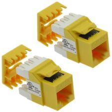 2 Pcs Cat5e RJ45 Network Ethernet Keystone Jack 180 Degree 110 Punch Down Yellow