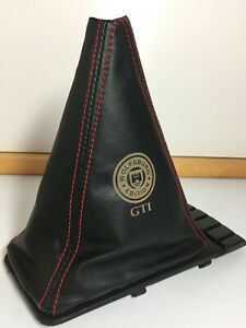 VW Golf MK2 & MK3 Leather Gearstick Gaiter with Laser Etched Wolfsburg GTI