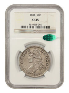 1834 50c NGC/CAC XF45 (Large Date, Large Letter) Bust Half Dollar