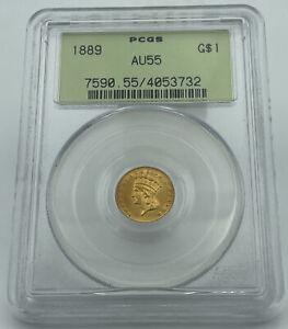 1889 PCGS AU55 Gold Dollar $1 Old Green Holder Total Undergrade