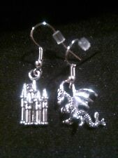 Antique Silver Dragon and Castle Dangle Earrings