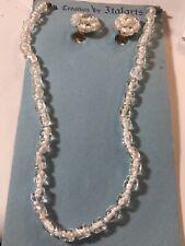 Beaded Neckace Earring Set Italy Midcentury Retro Italarts Clear Glass Textured