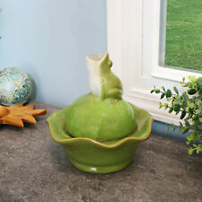 Sunnydaze Indoor Tabletop Fountain w/ Green Ceramic Frog Water Feature - 8""