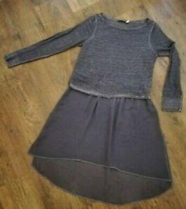 Mint Velvet Grey Georgette Hi Lo Jumper Dress UK 10 100% linen Sheer Space Dye