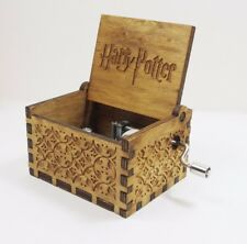 HARRY POTTER CARVED WOODEN HAND CRANK MUSIC BOX GIFT SIZE APPROX 6.4x5.2x4.2cm