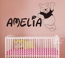 Personalized Carton Bear Wall Sticker Decal Baby Nursery Custom Name Vinyl
