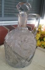 CUT CRYSTAL GLASS VINTAGE PITCHER DECANTER BOTTLE WITH STOPPER