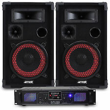"""2x Max 8"""" PA Disco Speakers Amplifier Cable House Party System 500w"""