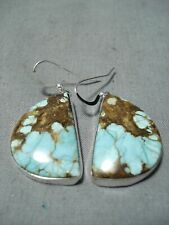 PHENOMENAL NAVAJO NATIVE AMERICAN 8 TURQUOISE STERLING SILVER EARRINGS