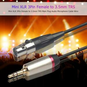 Mini XLR 3Pin Female to 3.5mm TRS Male Plug Audio Microphone Cable Wire