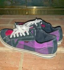 Vans Pink Purple Plaid Womens Skateboard Oxfords Loafers Leather Size 8 ❤️tb9j7