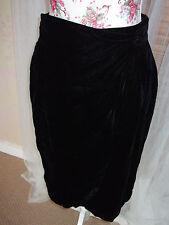 MANI Size 12 Ladies Black Crushed Velvet Wrap Evening Party Skirt