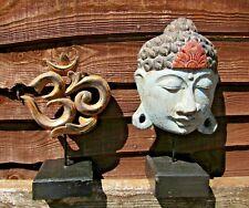 FairTrade Hand Carved Wooden Buddha Head Mask Om Aum Sign Hindu Buddhist Plaque.