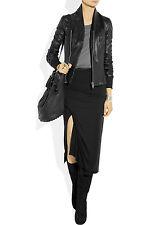 Rick Owens Blistered Black Leather Princess Biker Zip Jacket 38 4 Shawl Collar