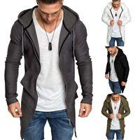 Jumper Long Hoodie Jacket Coat Casual Up Mens Sweater Slim Outwear Zip Cardigan