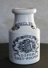 GREY POUPON, ancien pot à moutarde, 1889, médaille d'or, SARREGUEMINES, DIJON .