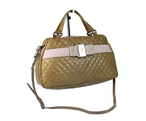 Auth Salvatore Ferragamo Quilted Patent Beige Leather 2 Ways Hand Bag Used Good