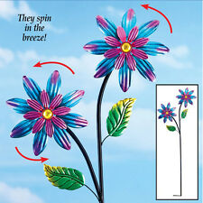 Yard Metal Flower Stake Garden Wind Spinners Decoration Lawn Windmills Ornaments