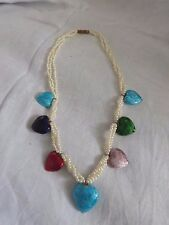 Vintage Enamel Heart and Plastic Pearl Necklace
