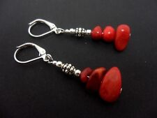 A PRETTY PAIR OF RED CORAL CHIPS  DANGLY  LEVERBACK HOOK EARRINGS. NEW.
