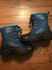 The North Face Alpenglow Lace Snow Boots Kids sz 13 Snow Insulated Blue Black