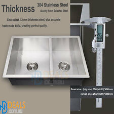Double bowl Kitchen Sink Laundry Stainless Steel Sink Under/Topmount 1&3/4 bowl