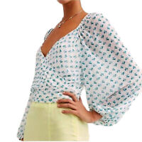 Free People Sweetie Pie White Teal Balloon Sleeve Cropped Long Sleeve Blouse NWT
