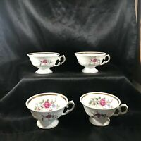 Set of 4 Vintage WALBRZYCH Poland Footed Tea Cups SHEARTON ROSE