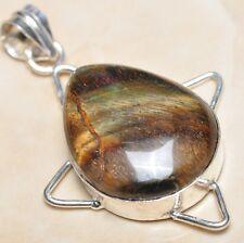 "Handmade Golden Tiger's Eye Gemstone 925 Sterling Silver Pendant 2.25"" #P02268"