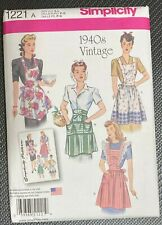 Simplicity 1221 Sewing Craft Pattern 1940s Vintage Half and Full Bib Aprons