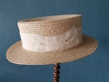 Canotier chapeau ancien en paille blonde tressée ruban beige T 50/51 cm - 82