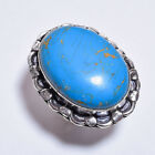 925 Sterling Silver Overlay Ring Size US 8.5, Turquoise Gemstone Jewelry PR894