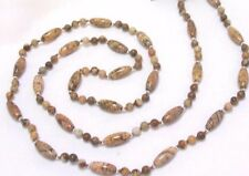 "32"" HAND KNOTTED PICTURE JASPER GEMSTONE RICE BEADED NECKLACE & EARRING SET"