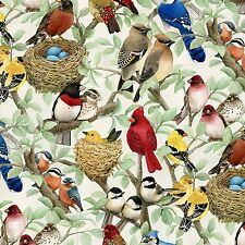 Fabric Wild Birds Allover Coordinate on Cotton by the 1/4 yard Elizabeth