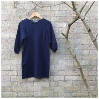 OLIVER BONAS - Marled Navy Bubble/Puff Sleeve Jumper Dress - Size 8