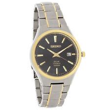 Seiko Solar Quartz Mens Classic Black Dial Two Tone Titanium Watch SNE382