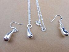 925 Sterling Silver Plated Teardrop Drop Necklace Earring New Jewelry Wholesale