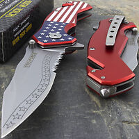 "7.25"" TAC FORCE USA AMERICAN FLAG SPRING ASSISTED FOLDING POCKET KNIFE U.S."