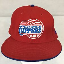 Los Angeles Clippers New Era 59FIFTY NBA Fitted Hat Throwback White Red Sz 8