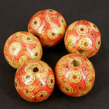10 x runde Holzern Perlen Boho Stil rot Muster Motiv - 20mm W408