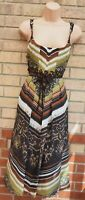 PER UNA BROWN GREEN BEADED TRIBAL ABSTRACT STRAPPY BELTED A LINE MIDI DRESS 12