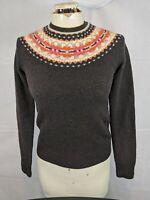 J Crew XS Lambs Wool Sweater brown ski winter shirt top orange cream women's