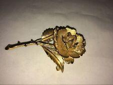 VTG. MONET BRUSHED GOLD TONE LARGE BLOSSOMING ROSE FLOWER/STEM BROOCH
