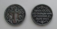 d 1x With God all things are possible Cross POCKET TOKEN CHARM