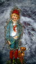 Antique Oblate-Scrap-Chromo -Christmas tree ornament paper doll -tinsel-Germany