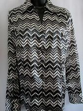 "NW ONE T,""ANN TAYLOR LONG SLEEVE BUTTON DOWN SHIRT/SIZE8 GRAY-BLACK-WHITE DEFECT"