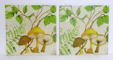 2 Vtg Mushroom Hot Plates Wall Hanging Donald Art Litho Yellow Brown Mushrooms