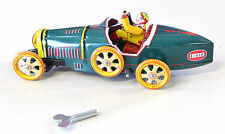 Schylling Tin Plate Bugatti Racing Car Mechanical Wind up Boxed 8 Inch Green
